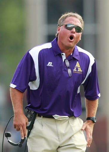 Sep 7, 2013; Starkville, MS, USA;  Alcorn State Braves head coach Jay Hopson during the game against the Mississippi State Bulldogs at Davis Wade Stadium. Mandatory Credit: Marvin Gentry-USA TODAY Sports