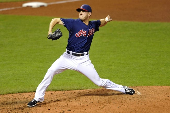 Sep 7, 2013; Cleveland, OH, USA; Cleveland Indians relief pitcher Rich Hill (53) delivers in the sixth inning against the New York Mets at Progressive Field. Mandatory Credit: David Richard-USA TODAY Sports
