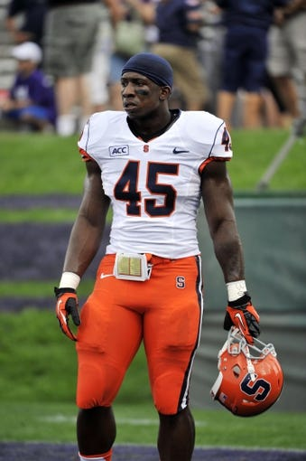 Sep 7, 2013; Evanston, IL, USA;  Syracuse Orange running back Jerome Smith (45) before the game against the Northwestern Wildcats at Ryan Field. Mandatory Credit: David Banks-USA TODAY Sports