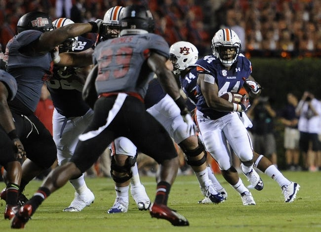 Sep 7, 2013; Auburn, AL, USA; Auburn Tigers running back Cameron Artis-Payne (44) runs the ball agains the defense of Arkansas State Red Wolves running back Kendrick Daniels (29) at Jordan Hare Stadium. Mandatory Credit: Shanna Lockwood-USA TODAY Sports