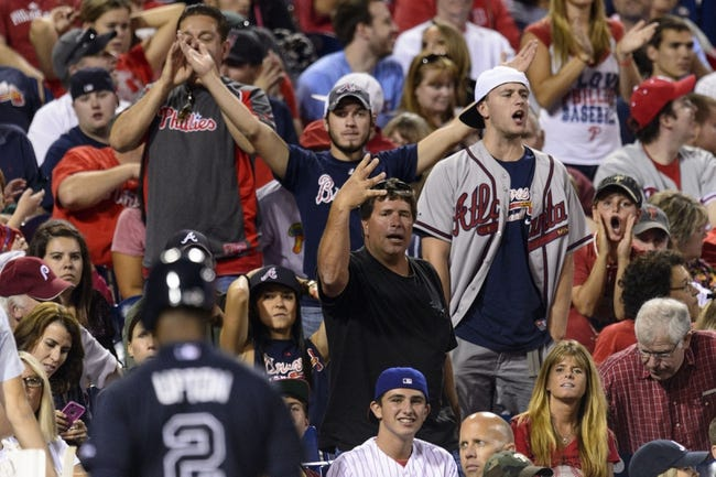 Sep 7, 2013; Philadelphia, PA, USA; Fans heckle Atlanta Braves center fielder B.J. Upton (2) after he struck out for the fourth time during the seventh inning against the Philadelphia Phillies at Citizens Bank Park. The Phillies defeated the Braves 6-5. Mandatory Credit: Howard Smith-USA TODAY Sports