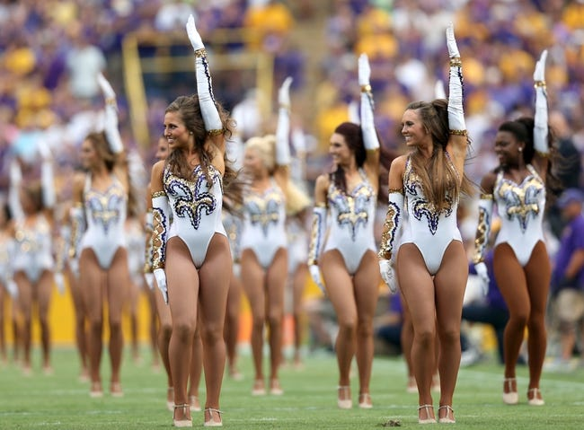 Sep 7, 2013; Baton Rouge, LA, USA; LSU Tigers dancers the Golden Girls perform prior to kickoff against the UAB Blazers at Tiger Stadium. LSU defeated UAB 56-17. Mandatory Credit: Crystal LoGiudice-USA TODAY Sports