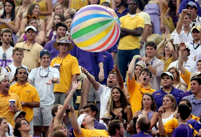 Sep 7, 2013; Baton Rouge, LA, USA; LSU Tigers fans toss a beach ball around the stands in the first quarter against the UAB Blazers at Tiger Stadium. LSU defeated UAB 56-17. Mandatory Credit: Crystal LoGiudice-USA TODAY Sports