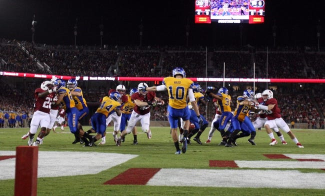 Sep 7, 2013; Stanford, CA, USA; San Jose State Spartans punter Harrison Waid (10) punts the ball against the Stanford Cardinal during the third quarter at Stanford Stadium. The Stanford Cardinal defeated the San Jose State Spartans 34-13. Mandatory Credit: Kelley L Cox-USA TODAY Sports