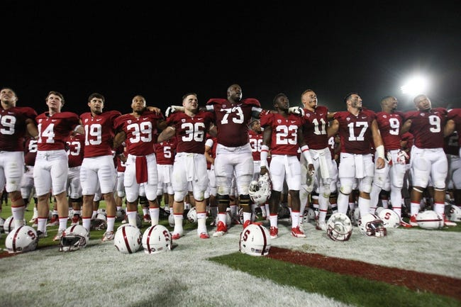Sep 7, 2013; Stanford, CA, USA; Stanford Cardinal face the band and student section after the win against the San Jose State Spartans at Stanford Stadium. The Stanford Cardinal defeated the San Jose State Spartans 34-13. Mandatory Credit: Kelley L Cox-USA TODAY Sports