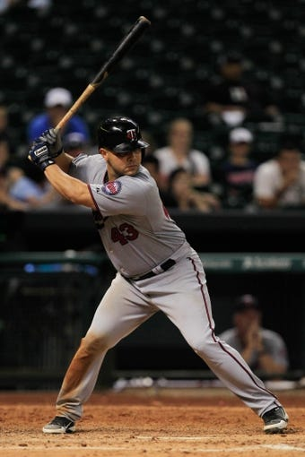 Sep 3, 2013; Houston, TX, USA; Minnesota Twins catcher Josmil Pinto (43) bats against the Houston Astros during the twelfth inning at Minute Maid Park. The Twins won 9-6. Mandatory Credit: Thomas Campbell-USA TODAY Sports