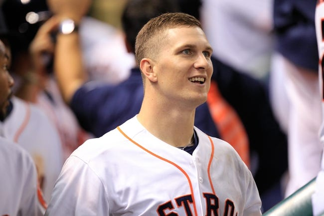 Sep 3, 2013; Houston, TX, USA; Houston Astros center fielder Brandon Barnes (2) celebrates hitting a game-tying home run against the Minnesota Twins during the ninth inning at Minute Maid Park. Mandatory Credit: Thomas Campbell-USA TODAY Sports