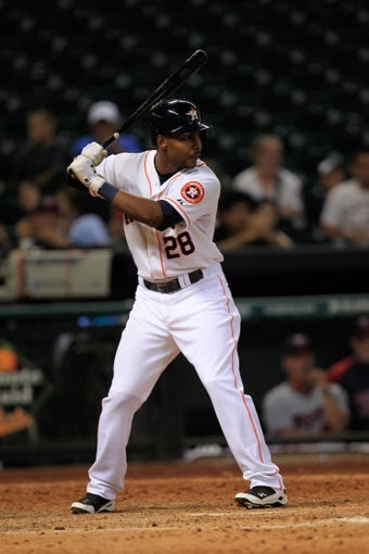 Sep 3, 2013; Houston, TX, USA; Houston Astros right fielder L.J. Hoes (28) bats against the Minnesota Twins during the twelfth inning at Minute Maid Park. The Twins won 9-6. Mandatory Credit: Thomas Campbell-USA TODAY Sports