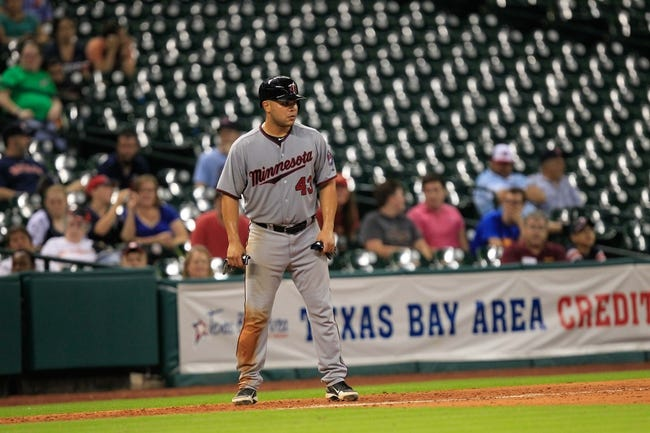 Sep 3, 2013; Houston, TX, USA; Minnesota Twins catcher Josmil Pinto (43) leads off third base against the Houston Astros during the twelfth inning at Minute Maid Park. The Twins won 9-6. Mandatory Credit: Thomas Campbell-USA TODAY Sports