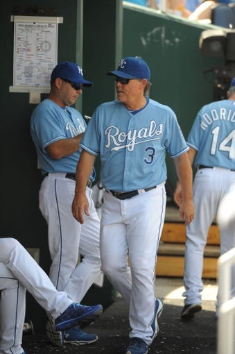 Sep 5, 2013; Kansas City, MO, USA; Kansas City Royals manager Ned Yost (3) walks into the dugout during the game against the Seattle Mariners at Kauffman Stadium. The Royals won 7-6. Mandatory Credit: Denny Medley-USA TODAY Sports