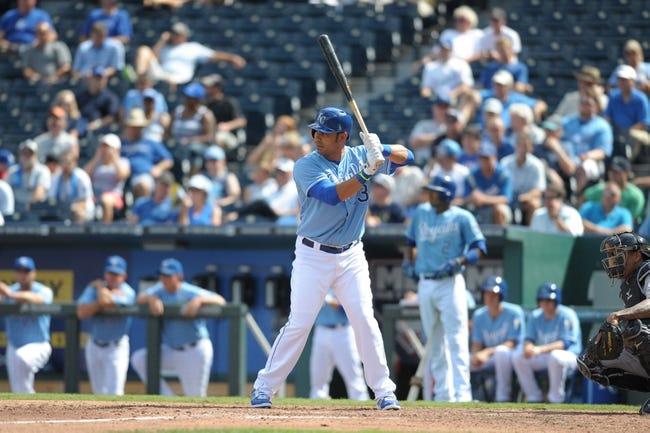 Sep 5, 2013; Kansas City, MO, USA; Kansas City Royals first baseman Carlos Pena (23) at bat in the sixth inning of the game against the Seattle Mariners at Kauffman Stadium. The Royals won 7-6. Mandatory Credit: Denny Medley-USA TODAY Sports