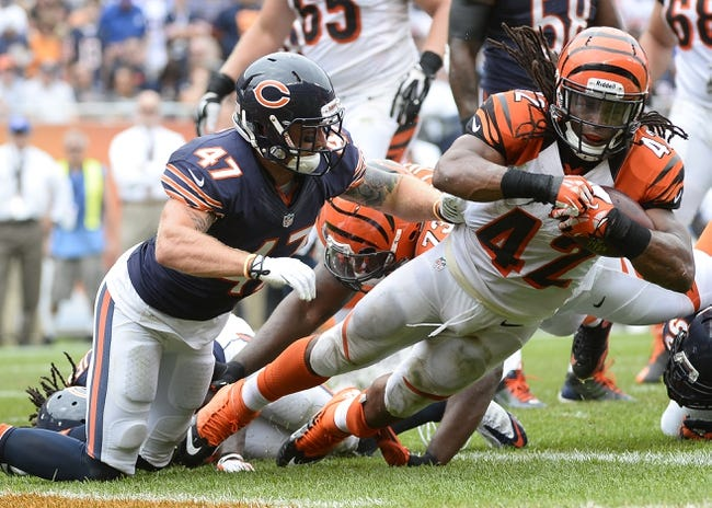Sep 8, 2013; Chicago, IL, USA;  Cincinnati Bengals running back BenJarvus Green-Ellis (42) rushes for a touchdown against Chicago Bears free safety Chris Conte (47) during the fourth quarter at Soldier Field. Chicago defeats Cincinnati 24-21. Mandatory Credit: Mike DiNovo-USA TODAY Sports