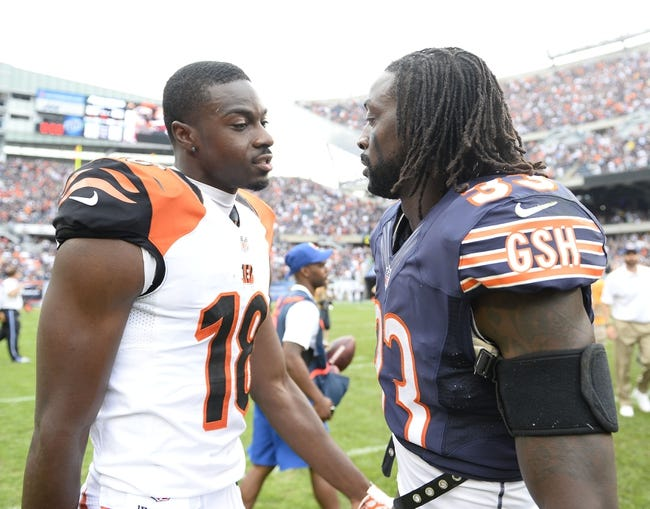 Sep 8, 2013; Chicago, IL, USA; Cincinnati Bengals wide receiver A.J. Green (18) and Chicago Bears cornerback Charles Tillman (33) talk after the game at Soldier Field. Chicago defeats Cincinnati 24-21. Mandatory Credit: Mike DiNovo-USA TODAY Sports
