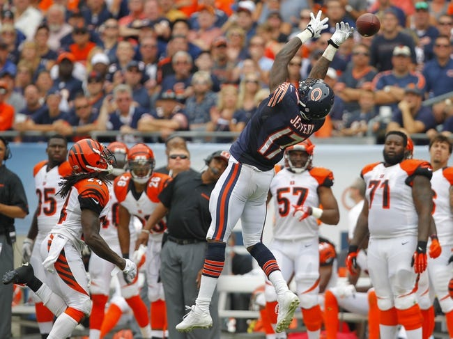 Sep 8, 2013; Chicago, IL, USA; Chicago Bears wide receiver Alshon Jeffery (17) leaps for an incomplete pass during the second half against the Cincinnati Bengals at Soldier Field. Chicago won 24-21. Mandatory Credit: Dennis Wierzbicki-USA TODAY Sports
