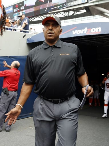 Sep 8, 2013; Chicago, IL, USA; Cincinnati Bengals head coach Marvin Lewis prior to a game against the Chicago Bears at Soldier Field. Chicago won 24-21. Mandatory Credit: Dennis Wierzbicki-USA TODAY Sports