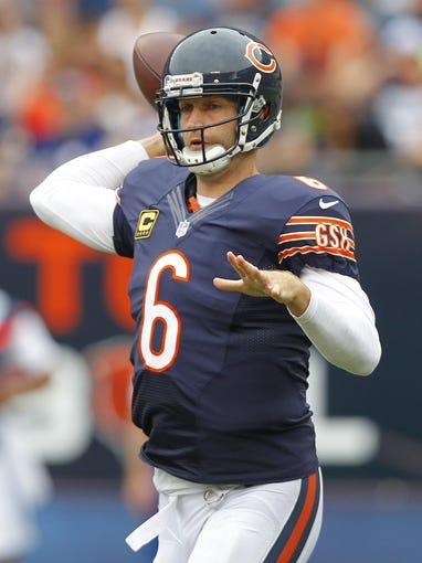 Sep 8, 2013; Chicago, IL, USA; Chicago Bears quarterback Jay Cutler (6) passes during the second half against the Cincinnati Bengals at Soldier Field. Chicago won 24-21. Mandatory Credit: Dennis Wierzbicki-USA TODAY Sports