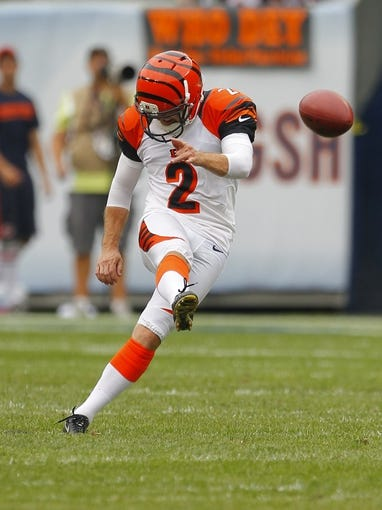 Sep 8, 2013; Chicago, IL, USA; Cincinnati Bengals kicker Mike Nugent (2) kicks off during the second half against the Chicago Bears at Soldier Field. Chicago won 24-21. Mandatory Credit: Dennis Wierzbicki-USA TODAY Sports