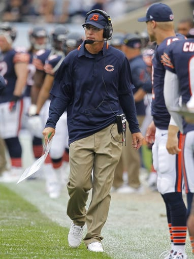 Sep 8, 2013; Chicago, IL, USA; Chicago Bears head coach Marc Trestman during the second half against the Cincinnati Bengals at Soldier Field. Chicago won 24-21. Mandatory Credit: Dennis Wierzbicki-USA TODAY Sports
