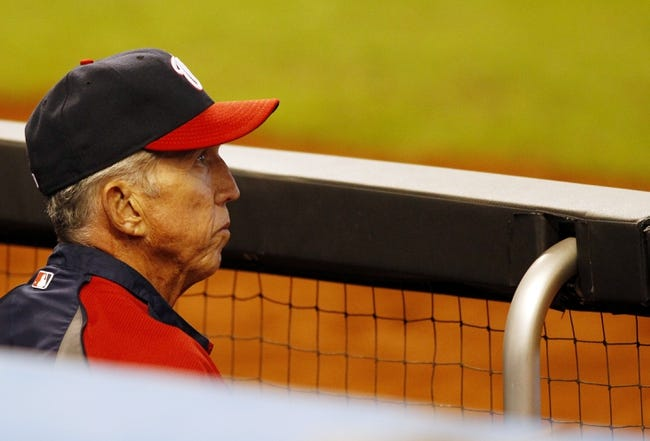 Sep 8, 2013; Miami, FL, USA;  Washington Nationals manager Davey Johnson during the seventh inning of a game against the Miami Marlins at Marlins Park. The Nationals won 6-4. Mandatory Credit: Robert Mayer-USA TODAY Sports