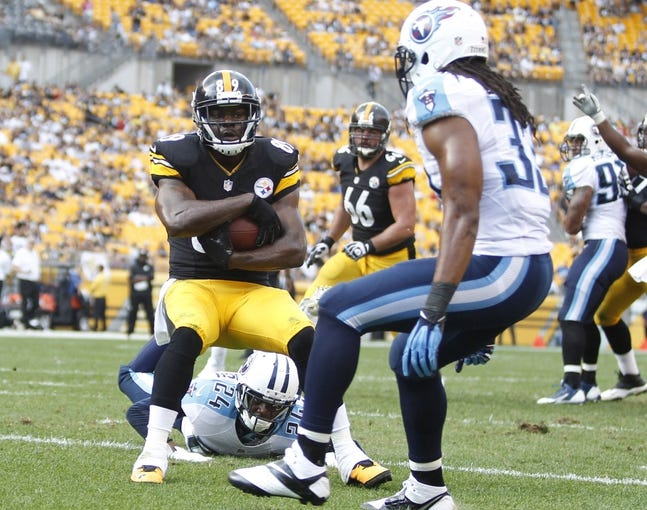 Sep 8, 2013; Pittsburgh, PA, USA; Pittsburgh Steelers wide receiver Jerricho Cotchery (89) catches a four yard touchdown pass against the Tennessee Titans during the fourth quarter at Heinz Field. The Tennessee Titans won 16-9. Mandatory Credit: Charles LeClaire-USA TODAY Sports