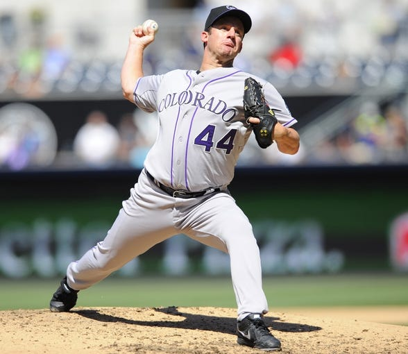 Sep 8, 2013; San Diego, CA, USA; Colorado Rockies pitcher Roy Oswalt (44) throws during the fourth inning against the San Diego Padres at Petco Park. Mandatory Credit: Christopher Hanewinckel-USA TODAY Sports