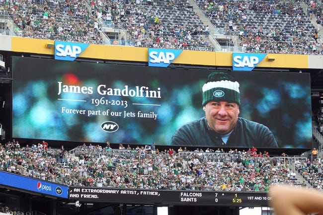 Sep 8, 2013; East Rutherford, NJ, USA; Film and television star James Gandolfini is remembered by the New York Jets during the first quarter of a game against the Tampa Bay Buccaneers at MetLife Stadium. The Jets won 18-17. Mandatory Credit: Brad Penner-USA TODAY Sports