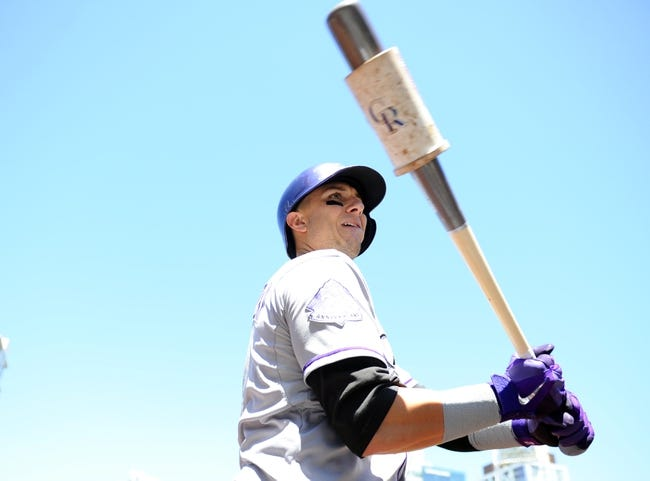 Sep 8, 2013; San Diego, CA, USA; Colorado Rockies shortstop Troy Tulowitzki (2) before at bat during the first inning against the San Diego Padres at Petco Park. Mandatory Credit: Christopher Hanewinckel-USA TODAY Sports