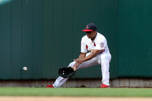 Sep 8, 2013; St. Louis, MO, USA;  St. Louis Cardinals left fielder Adron Chambers (56) fields the during a game against the Pittsburgh Pirates at Busch Stadium. Mandatory Credit: Scott Kane-USA TODAY Sports