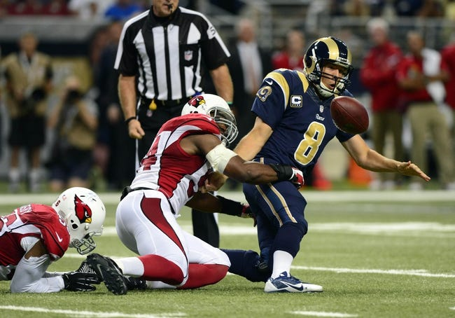 Sep 8, 2013; St. Louis, MO, USA; St. Louis Rams quarterback Sam Bradford (8) has the ball stripped by Arizona Cardinals outside linebacker Sam Acho (94) during the second half at Edward Jones Dome. St. Louis defeated Arizona 27-24. Mandatory Credit: Jeff Curry-USA TODAY Sports