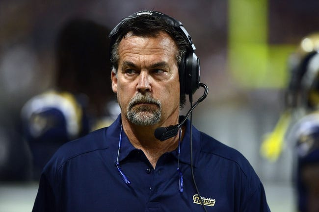 Sep 8, 2013; St. Louis, MO, USA; St. Louis Rams head coach Jeff Fisher looks on as his team plays the Arizona Cardinals during the second half at Edward Jones Dome. St. Louis defeated Arizona 27-24. Mandatory Credit: Jeff Curry-USA TODAY Sports