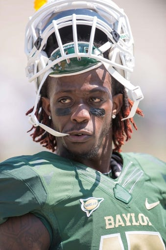 Sep 7, 2013; Waco, TX, USA; Baylor Bears wide receiver Tevin Reese (16) before the game against the Buffalo Bulls at Floyd Casey Stadium. The Bears defeated the Bulls 70-13. Mandatory Credit: Jerome Miron-USA TODAY Sports