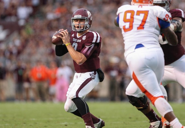 Sep 7, 2013; College Station, TX, USA; Texas A&M Aggies quarterback Johnny Manziel (2) looks for an open receiver during the first quarter against the Sam Houston State Bearkats at Kyle Field. Mandatory Credit: Troy Taormina-USA TODAY Sports