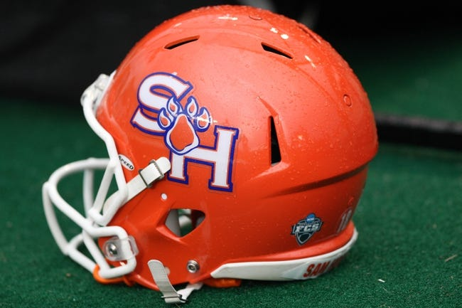 Sep 7, 2013; College Station, TX, USA; General view of a Sam Houston State Bearkats helmet during a game against the Texas A&M Aggies at Kyle Field. Mandatory Credit: Troy Taormina-USA TODAY Sports