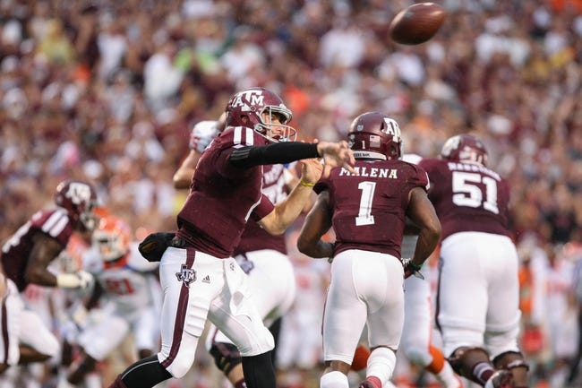 Sep 7, 2013; College Station, TX, USA; Texas A&M Aggies quarterback Johnny Manziel (2) attempts a pass during the first quarter against the Sam Houston State Bearkats at Kyle Field. Mandatory Credit: Troy Taormina-USA TODAY Sports