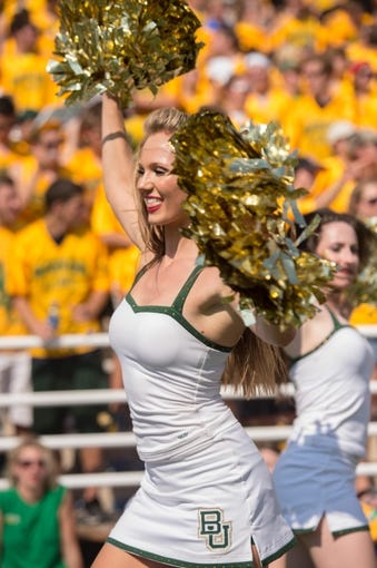 Sep 7, 2013; Waco, TX, USA; A Baylor Bears cheerleader during the game between the Bears and the Buffalo Bulls at Floyd Casey Stadium. The Bears defeated the Bulls 70-13. Mandatory Credit: Jerome Miron-USA TODAY Sports