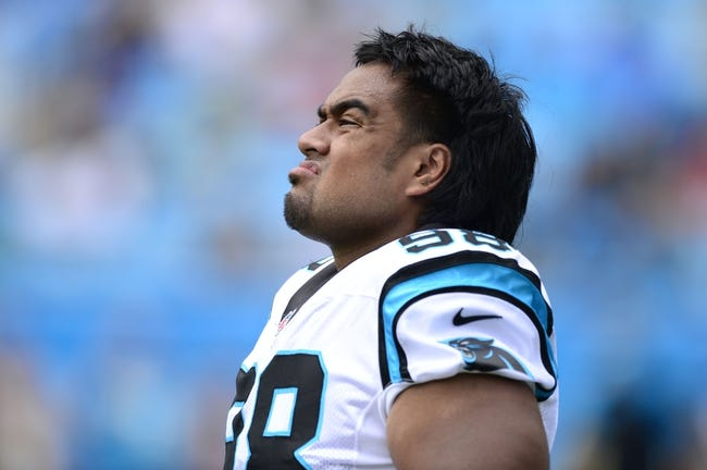 Sep 8, 2013; Charlotte, NC, USA; Carolina Panthers defensive tackle Star Lotulelei (98) on the field before the game. The Seahawks defeated the Panthers 12-7 at Bank of America Stadium. Mandatory Credit: Bob Donnan-USA TODAY Sports