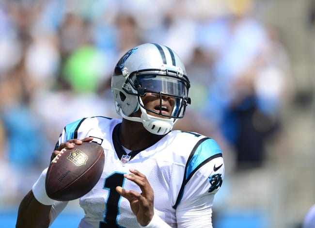 Sep 8, 2013; Charlotte, NC, USA; Carolina Panthers quarterback Cam Newton (1) looks to pass in the first quarter. The Seahawks defeated the Panthers 12-7 at Bank of America Stadium. Mandatory Credit: Bob Donnan-USA TODAY Sports