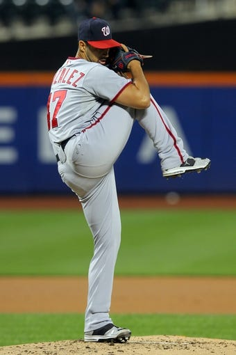 Sep 9, 2013; New York, NY, USA; Washington Nationals starting pitcher Gio Gonzalez (47) pitches against the New York Mets during the first inning of a game at Citi Field. Mandatory Credit: Brad Penner-USA TODAY Sports