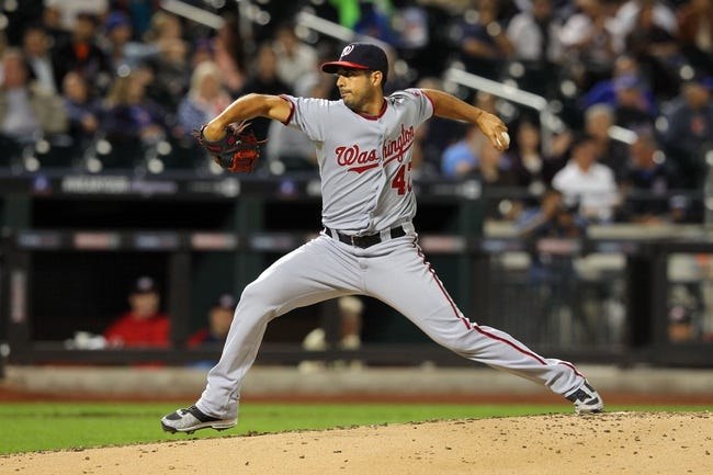 Sep 9, 2013; New York, NY, USA; Washington Nationals starting pitcher Gio Gonzalez (47) pitches against the New York Mets during the third inning of a game at Citi Field. Mandatory Credit: Brad Penner-USA TODAY Sports