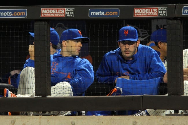 Sep 9, 2013; New York, NY, USA; New York Mets injured third baseman David Wright (5) and New York Mets injured starting pitcher Matt Harvey (33) talk in the dugout during the sixth inning of a game against the Washington Nationals at Citi Field. Mandatory Credit: Brad Penner-USA TODAY Sports