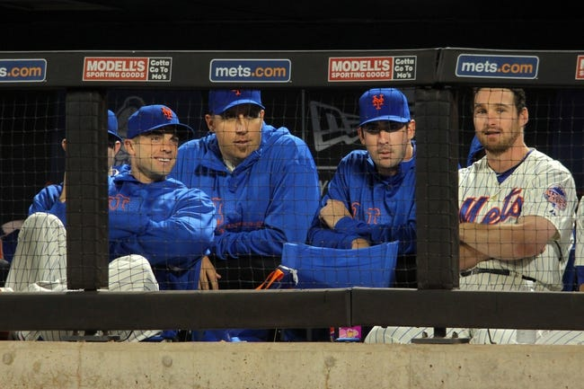 Sep 9, 2013; New York, NY, USA; New York Mets injured third baseman David Wright (5) and New York Mets pitcher Aaron Harang (44) and New York Mets injured starting pitcher Matt Harvey (33) and New York Mets second baseman Daniel Murphy (28) look on from the dugout during the seventh inning of a game against the Washington Nationals at Citi Field. Mandatory Credit: Brad Penner-USA TODAY Sports