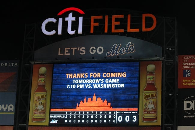Sep 9, 2013; New York, NY, USA; General view of the Citi Field scoreboard after a game between the Washington Nationals and the New York Mets. Washington Nationals starting pitcher Gio Gonzalez (not pictured) pitched a complete game one hitter in the 9-0 victory over the Mets. Mandatory Credit: Brad Penner-USA TODAY Sports