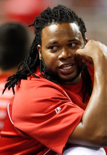 Sep 9, 2013; Cincinnati, OH, USA; Cincinnati Reds starting pitcher Johnny Cueto (47) sits in the dug out during the fourth inning against the Chicago Cubs at Great American Ball Park. Mandatory Credit: Frank Victores-USA TODAY Sports