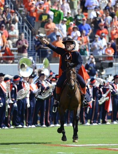 Sep 7, 2013; Charlottesville, VA, USA; Virginia Cavaliers mascot rides on to the field before the game at Scott Stadium. Mandatory Credit: Bob Donnan-USA TODAY Sports
