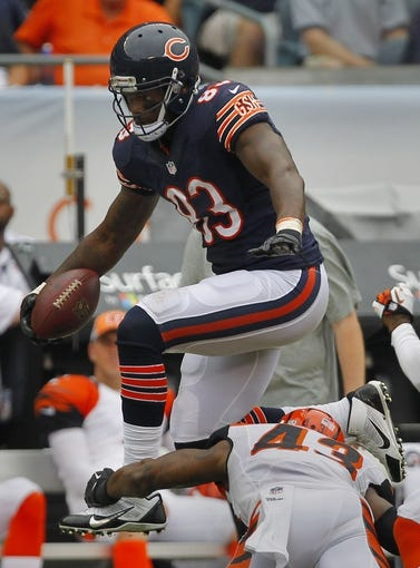 Sep 8, 2013; Chicago, IL, USA; Chicago Bears tight end Martellus Bennett (83) during the second half at Soldier Field. Chicago won 24-21. Mandatory Credit: Dennis Wierzbicki-USA TODAY Sports