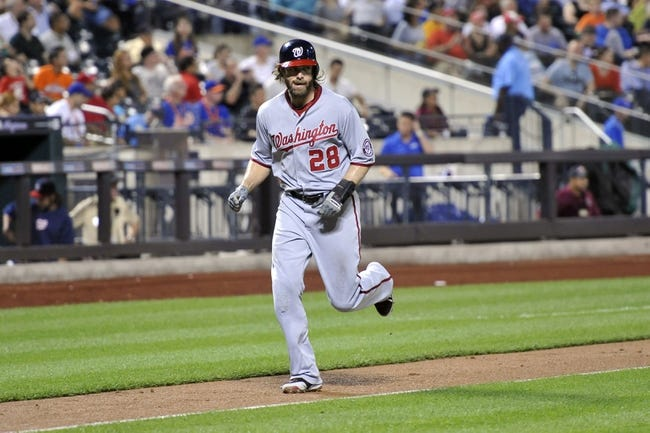 Sep 10, 2013; New York, NY, USA; Washington Nationals right fielder Jayson Werth (28) scores after being driven in by Washington Nationals catcher Wilson Ramos (not pictured) during the sixth inning against the New York Mets at Citi Field. Mandatory Credit: Joe Camporeale-USA TODAY Sports