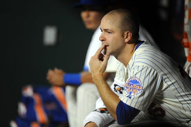 Sep 10, 2013; New York, NY, USA; New York Mets starting pitcher Dillon Gee (35) looks on during the sixth inning against the Washington Nationals at Citi Field. Mandatory Credit: Joe Camporeale-USA TODAY Sports