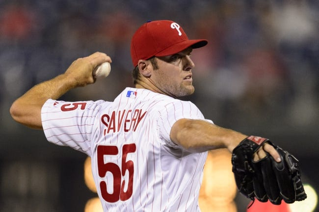 Sep 10, 2013; Philadelphia, PA, USA; Philadelphia Phillies pitcher Joe Savery (55) delivers to the plate during the ninth inning against the San Diego Padres at Citizens Bank Park. The Padres defeated the Phillies 8-2. Mandatory Credit: Howard Smith-USA TODAY Sports