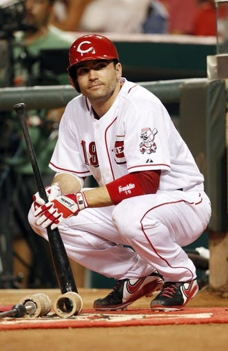 Sep 10, 2013; Cincinnati, OH, USA; Cincinnati Reds first baseman Joey Votto (19) in the on deck circle during the third inning against the Chicago Cubs at Great American Ball Park. Mandatory Credit: Frank Victores-USA TODAY Sports