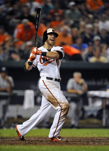 Sep 10, 2013; Baltimore, MD, USA; Baltimore Orioles first baseman Chris Davis (19) reacts after fouling a ball off his foot in the eighth inning against the New York Yankees at Oriole Park at Camden Yards. The Yankees defeated the Orioles 7-5. Mandatory Credit: Joy R. Absalon-USA TODAY Sports